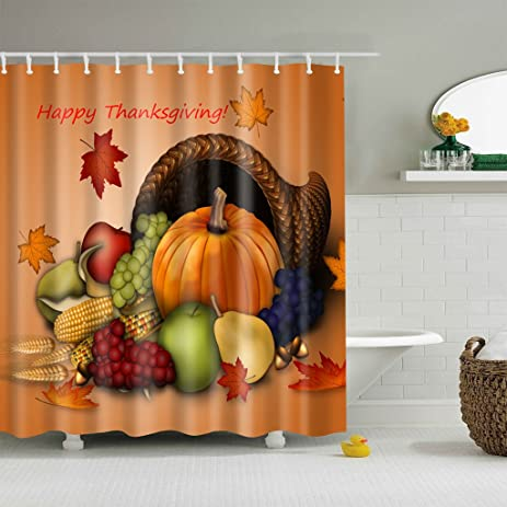 Timberlark Happy Thanksgiving Shower Curtain With Hooks, Halloween Bathroom  Decor Waterproof Fabric Set,70x70inch