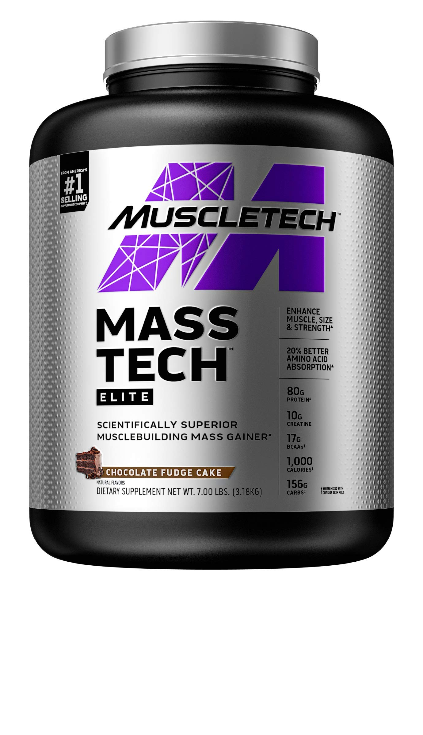 Mass Gainer Protein Powder   MuscleTech Mass-Tech Elite Mass Gainer   Whey Protein Powder + Muscle Builder   Weight Gainer   Protein Powder for Muscle Gain   Creatine Supplements   Chocolate, 7 lbs