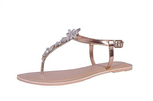 eaaf8ad4e The Shoe Story Rose Gold Embellished Diamond Flat Thong Sandals Desiger Flat  Sandal for Women s (