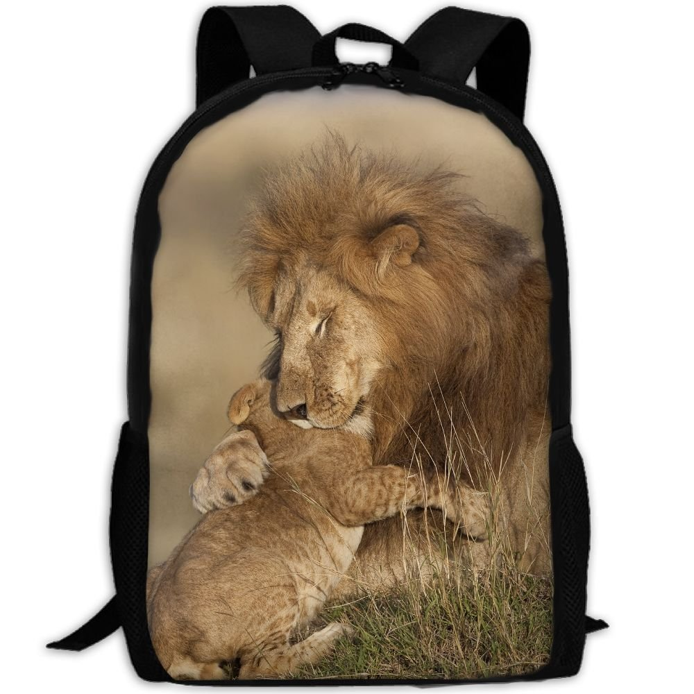 Lion Love Double Shoulder Backpacks For Adults Traveling Bags Full Print Fashion by THIS STORE
