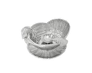 Arthur Court Designs Aluminum Turkey 3-Piece Condiment Set Tray/Bowl / Spoon