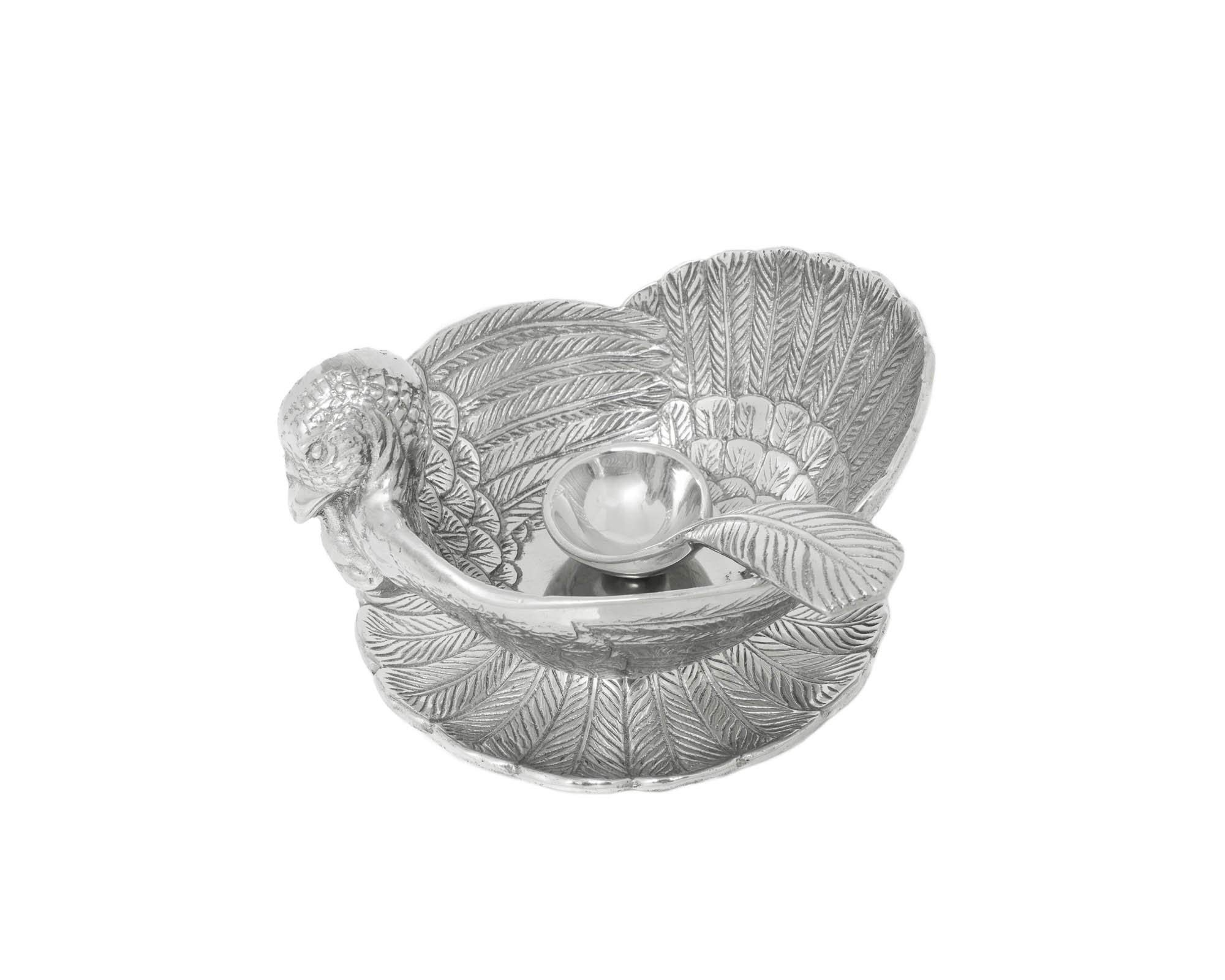 Arthur Court Designs Aluminum Turkey 3-Piece Condiment Set Tray/Bowl/Spoon