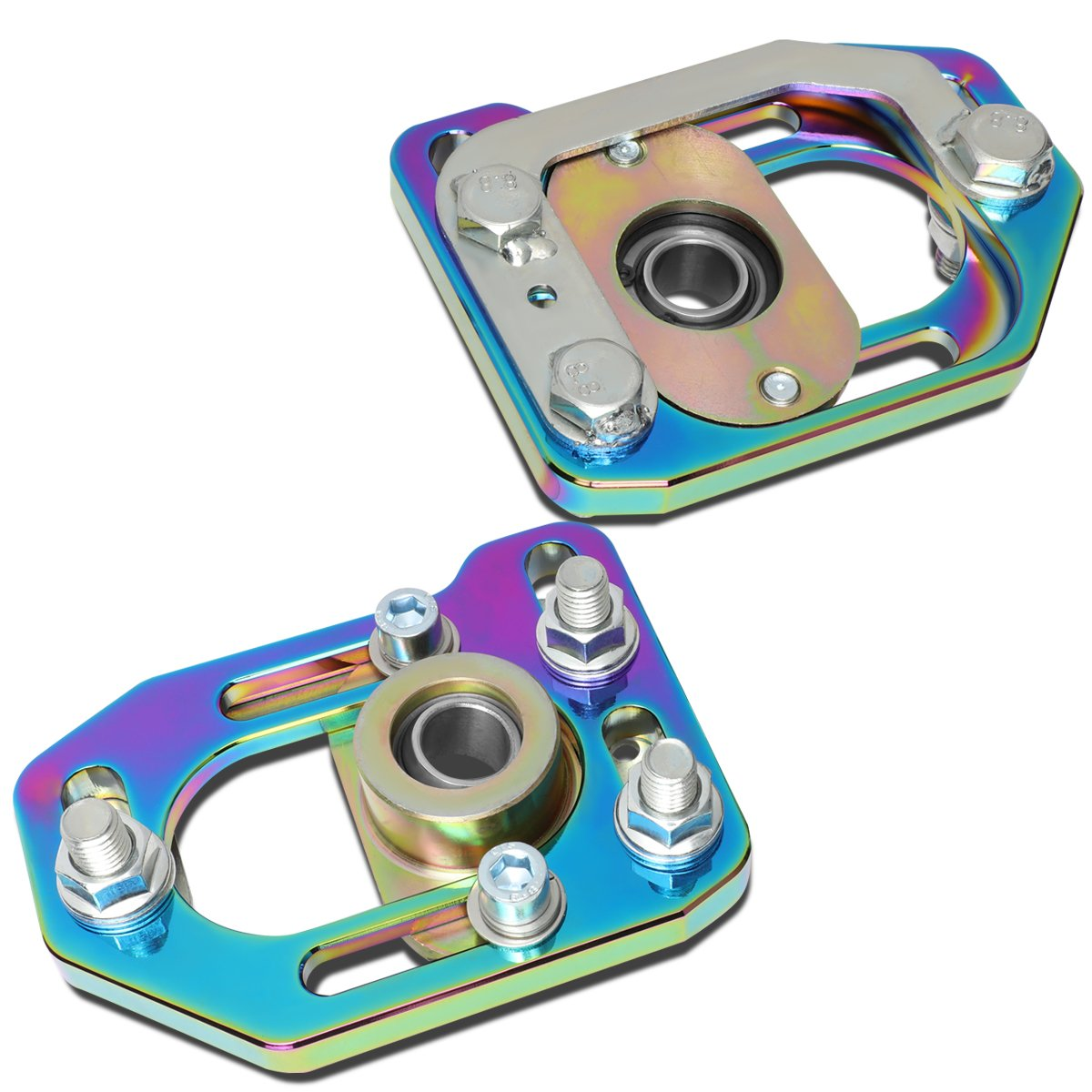 DNA Motoring CBK-PLT-FM79-RB Front Camber/Caster Plates Neo Chrome [For 79-89 Ford Mustang]