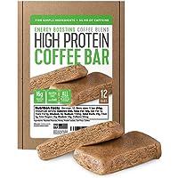 Barra de proteínas de café de proteínas, hecha con cinco ingredientes simples, totalmente natural, sin gluten, sin OMG y 15 g de proteína, hecha con café real (55 mg de cafeína por bar), 12 unidades