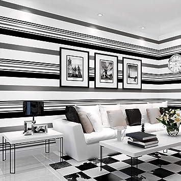 Telihone Salon noir et blanc de plaid de papier peint rayé ...