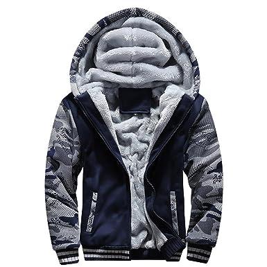 OverDose abrigos hombre invierno campera de abrigo de lana con capucha de la cremallera: Amazon.es: Ropa y accesorios