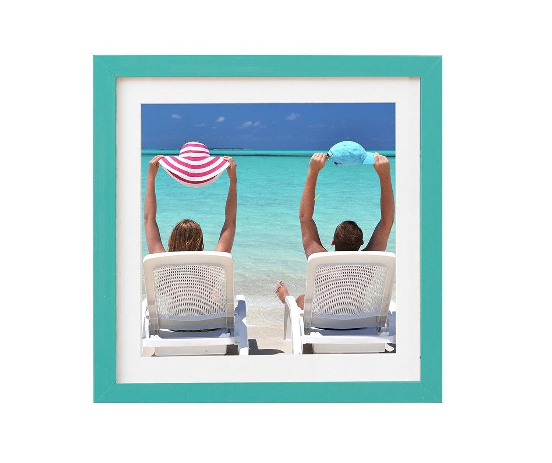 Artepoint Holz - Rahmen für Bilder Quadratisch 15x15 20x20 25x25 30x30 40x40 50x50 mit Weißem Passepartout Rahmen Zum Aufhängen Farbe ...