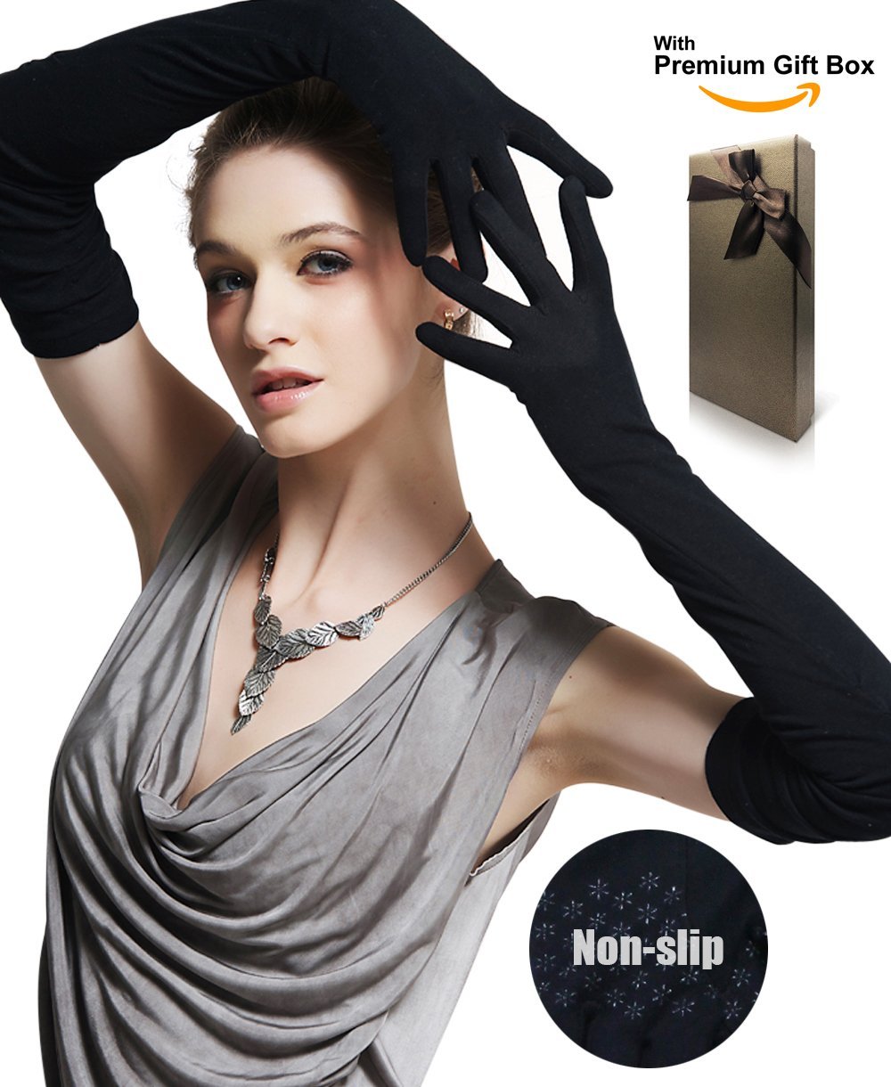 Women's UV Protection 18.0''/21.5''/23.5'' Elbow Length Long Gloves for Driving/Golf/Party/Outdoor with Gift Box