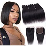 Brazilian Virgin Human Hair Bundles with Closure Straight Hair Bundles with Closure Middle Part 10A Straight Human Hair Weave Extensions Remy Hair Bundles (10 10 10+8 Lace Closure, 50g/piece)