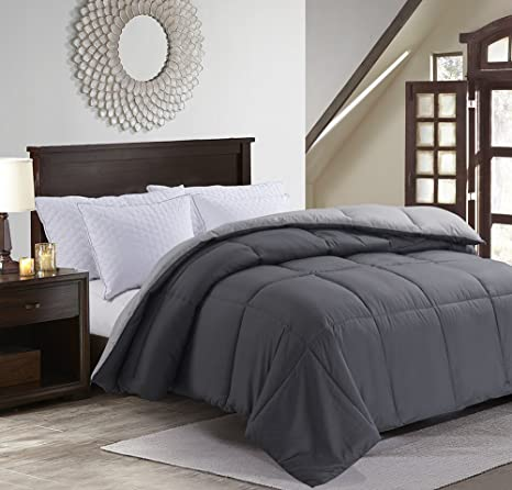 detailed pictures reasonable price look good shoes sale MANZOO Twin Comforter Duvet Insert Gray - Quilted Comforter with Corner  Tabs - Hypoallergenic, Plush Siliconized Fiberfill, Box Stitched Down ...