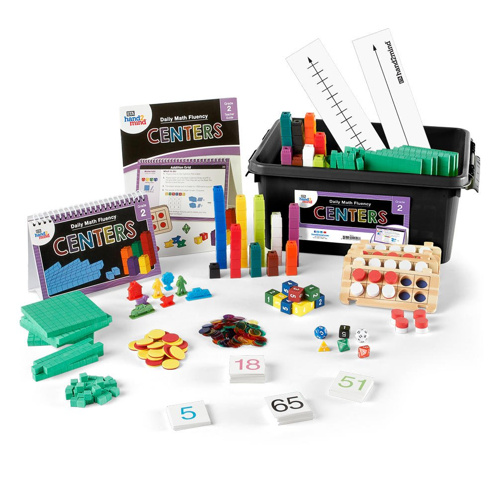 ETA hand2mind Daily Math Fluency Centers Kit with Number Strings, Math Talks (Grade 2)