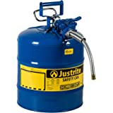 """Justrite 7250330 AccuFlow 5 Gallon, 11.75"""" OD x 17.50"""" H Galvanized Steel Type II Blue Safety Can With 1"""" Flexible Spout"""