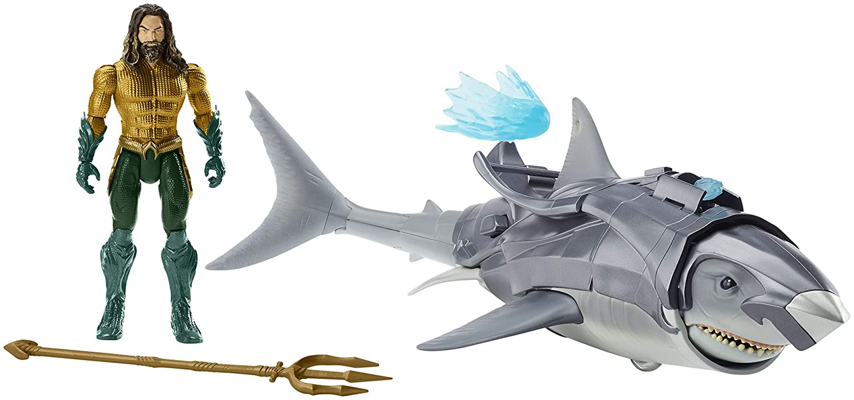 Justice League Figura Aquaman y su Tiburoacute;n Tiburoacute;n Tiburoacute;n de Batalla (Mattel FWX37) 5cc704