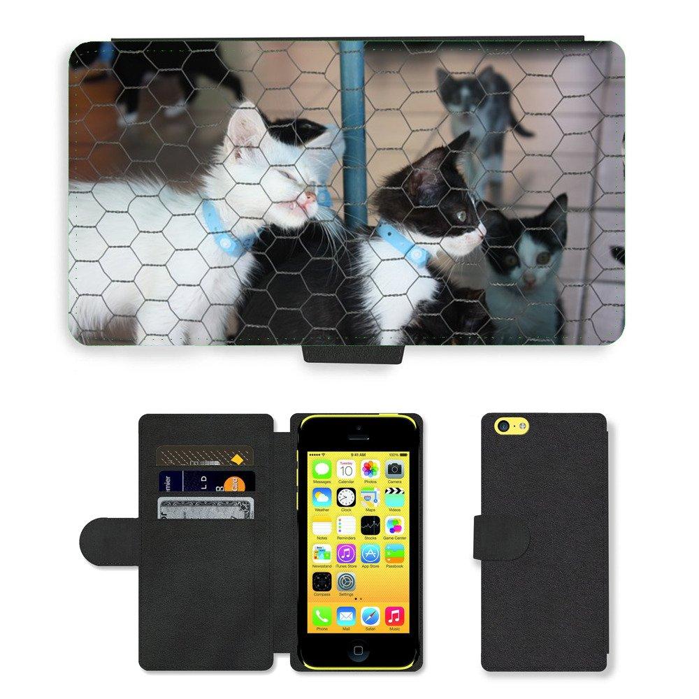 Just carcasa caliente estilo ranura de tarjeta de teléfono celular Funda de piel sintética//m00139743 Caseta de gato gatos Feline Gato//Apple iPhone 5 C: ...