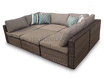 Amazon.de: Ascot Rattan Garten Möbel Modular Sofa Sofa Set - Natur 6 ...
