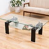 美感でスタイリッシュ センターテーブル 120マックス(クリアガラス) ブラック色(黒色) 強化ガラステーブル ディスプレイタイプ