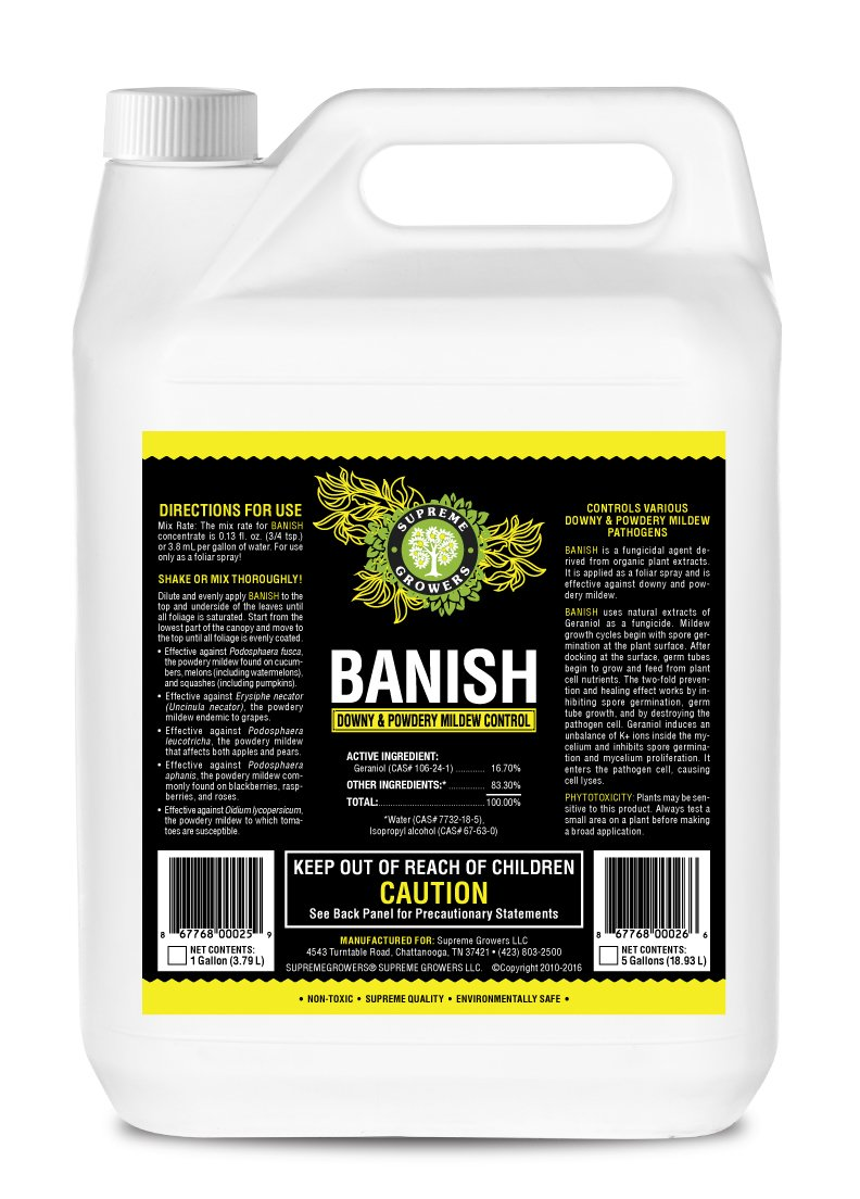 Banish All Natural Fungicide Downey & Powdery Mildew Control Proprietary Mixture of Powerful Natural Geraniol 1 Gallon Concentrate Mixes to 960 Gallons of Non-Toxic Spray by Supreme Growers