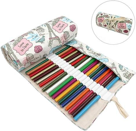Lumsburry - Estuche enrollable con 72 ranuras para lápices de colores, organizador de bolígrafos para artistas, estudiantes, pintores: Amazon.es: Hogar