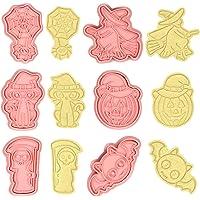 6pcs Cortadores Galletas de Halloween, Moldes Galletas Festival, Moldes para Galletas 3D, Plástico Molde Víspera de…