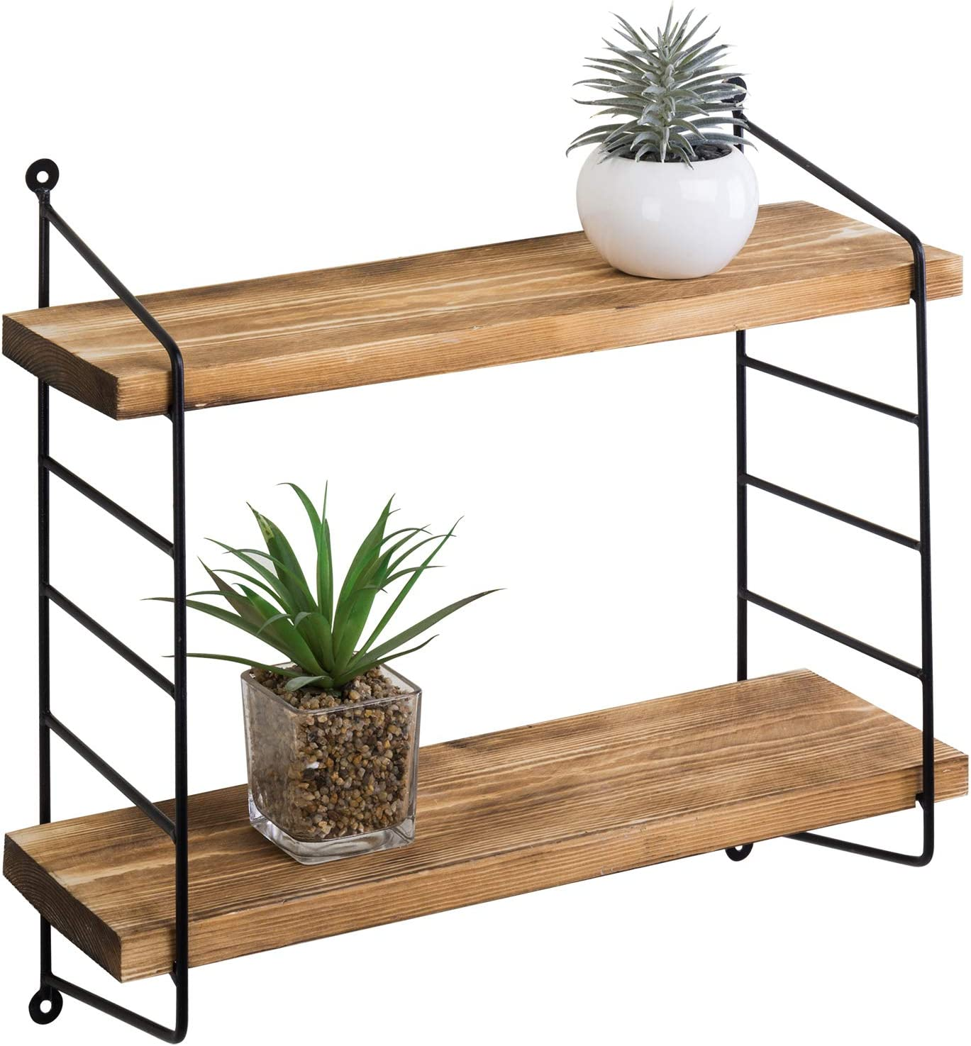 MyGift Set of 2 Industrial Wall-Mounted 15-Inch Torched Wood Shelves with Metal Pipe Bracket