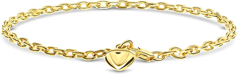 Miore - Pulsera para mujer con colgante de corazón de oro amarillo 585 de 14 quilates, longitud de 19 cm