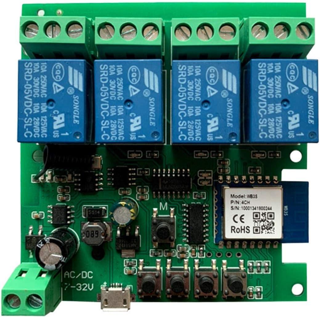 Módulo de relé MHCOZY WiFi RF Bluetooth, aplicación WIFI Smart Life, control remoto, obturador de garaje, compatible con Alexa Google Nest (aplicación Smart Life 4CH)