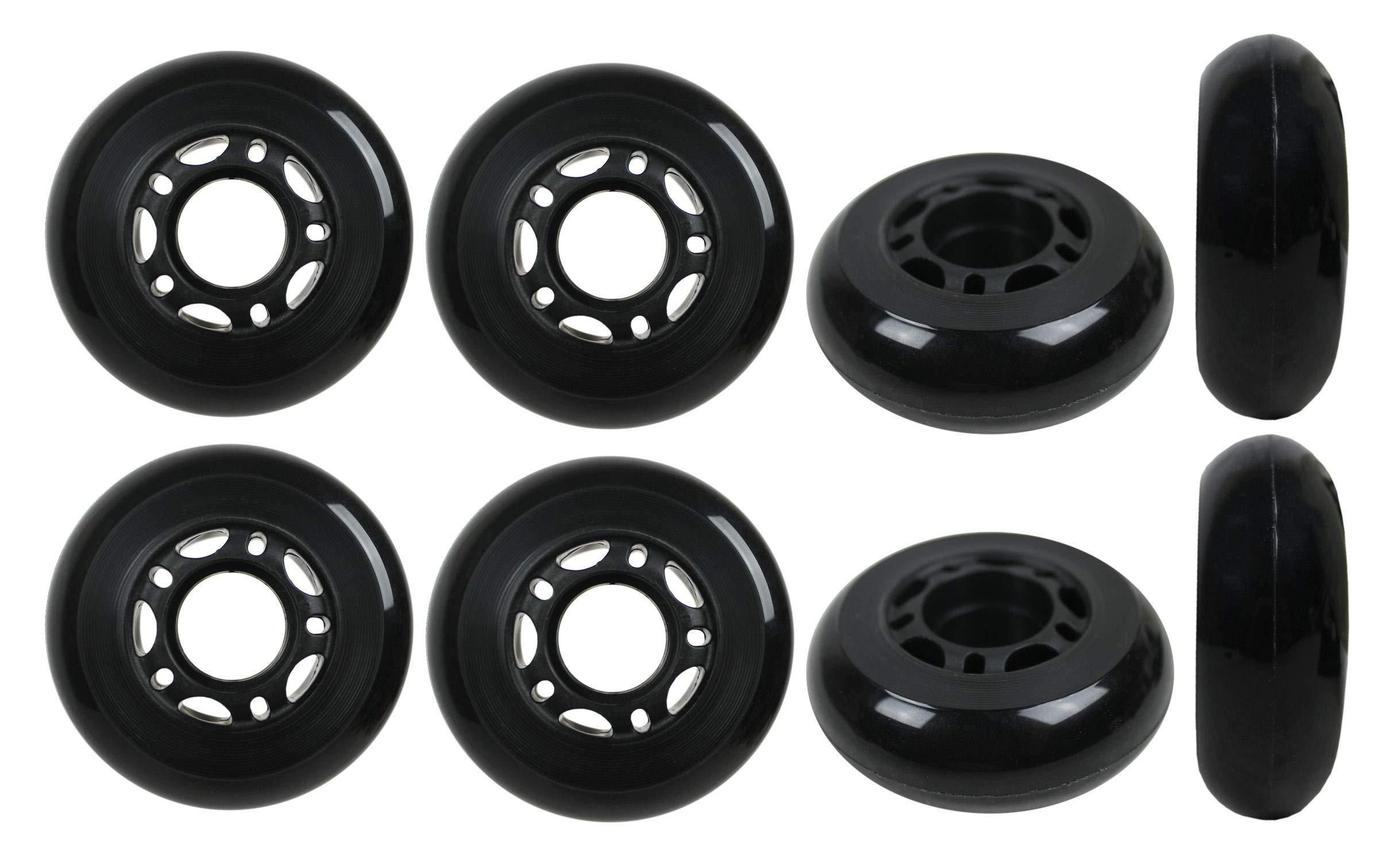 Ruedas de patines en línea KSS 64 mm 82A con buje de 5 radios (paquete de 8), 64 mm, negro / gris / rojo