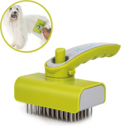 Pet Craft Supply Self-Cleaning Pet Grooming Hair Deshedding Brush Tool for Small Dogs and Cats with Short to Long Hair