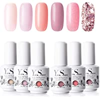 Vernis Gel Semi Permanent - Y&S UV LED Vernis à Ongles Gel Soak Off Manucure Cadeau Lot 19, 6 Couleurs X 8ml