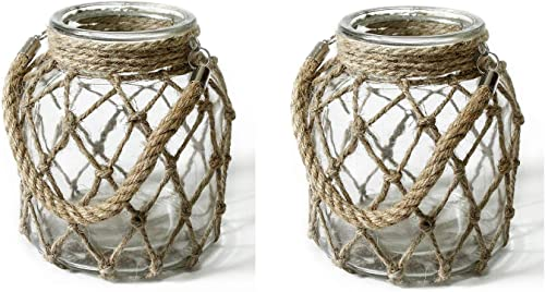 FUNSOBA Rustic Hanging Mason Jar Creative Rope Net Dry Flower Glass Vase with Handle Pack of 2 2 Vase 6.5