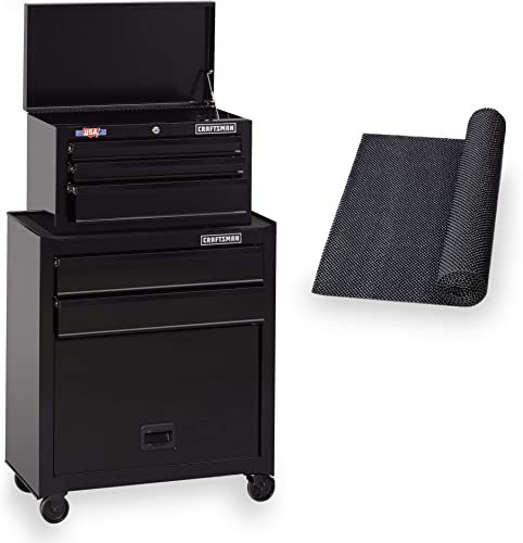 CRAFTSMAN Tool Chest Combo with Drawer Liner Roll, 26-Inch, 5 Drawer, Black CMST82763BK