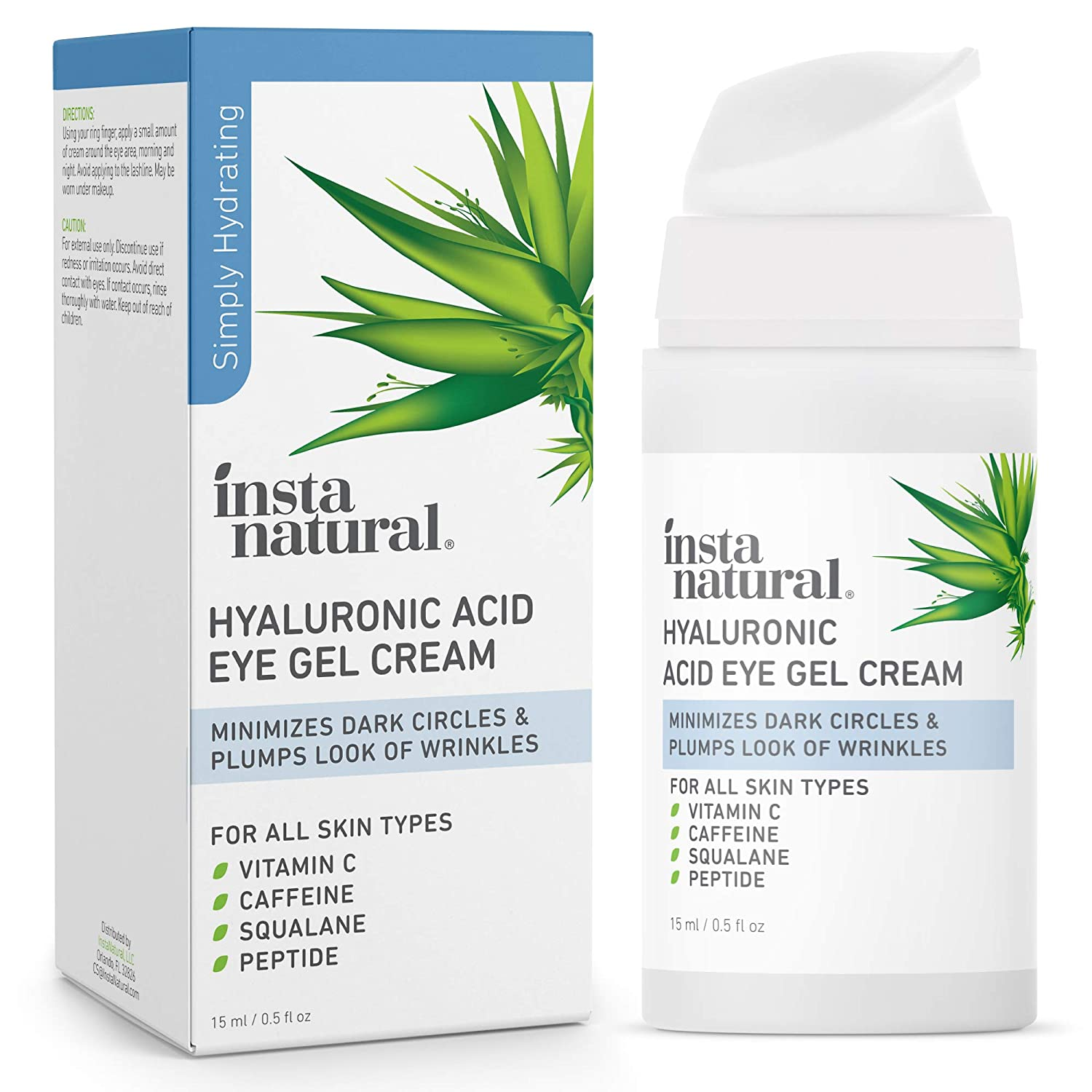 Hyaluronic Acid Eye Gel Cream - Hydrating Dark Circle, Eye Bags Remover & Puffy Eyes Moisturizer - Crows Feet, Lines & Wrinkles, Lifting & Firming Brightening Treatment - Vitamin C & Caffeine - 0.5 oz
