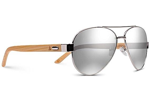 f6eabcfa1d41 TREEHUT Wooden Bamboo Sunglasses Temples Classic Top Gun Retro Metal Frame  Top Gun Wood Sunglasses (