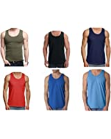 Mens Fitted 100% Cotton Vests Pack of 6
