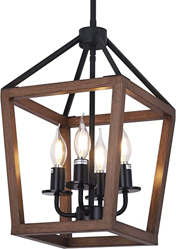 Farmhouse 4-Light Chandelier Rustic Wood Lantern Pendant Light