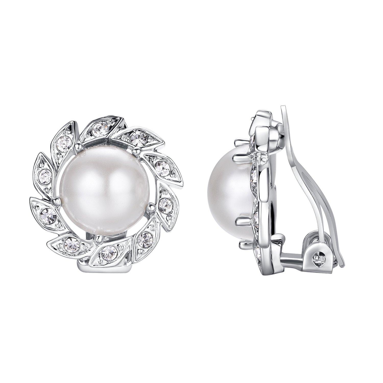 Yoursfs Pearl Clip Earrings-Freshwater Clip Pearl Earrings Non Pierced Ears Sunflower Bridesmaid Earrings