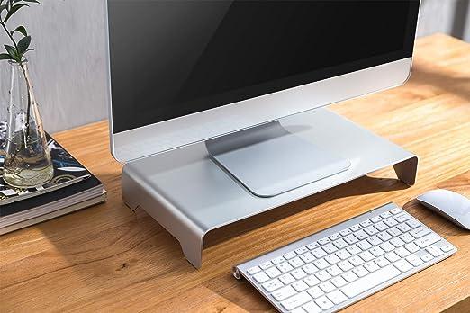 Digitus Designer Monitor Erhöhung Aus Aluminium Bildschirm Ständer Traglast 10 Kg Nicht Rutschend Silber Küche Haushalt