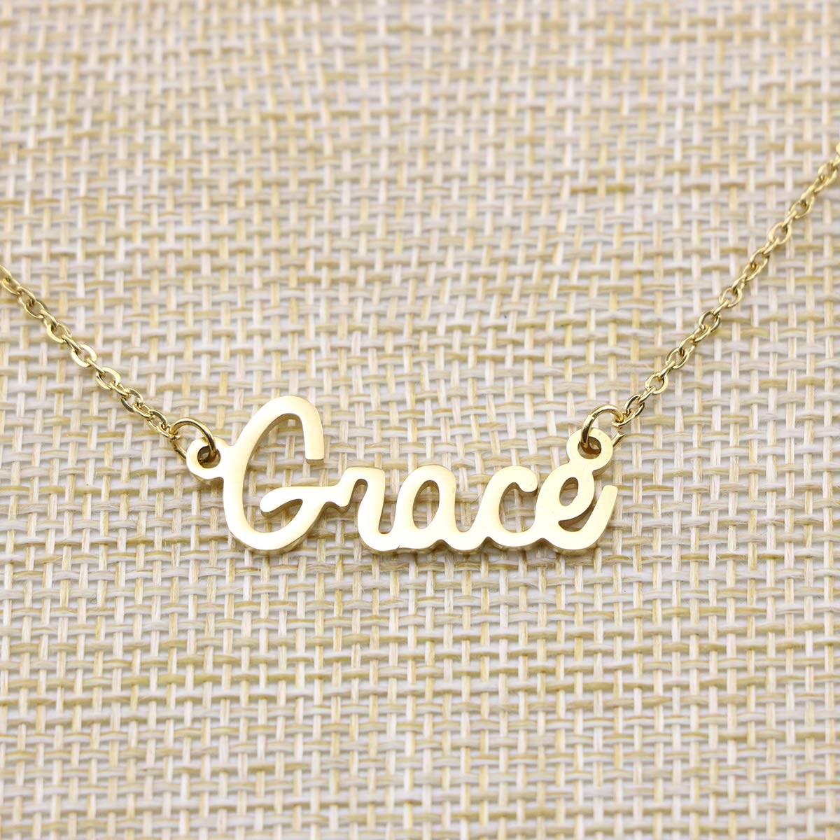254666aad Yiyang Personalized Name Necklace 18K Gold Plated Stainless Steel Pendant  Jewelry Birthday Gift for Girls YN larger image