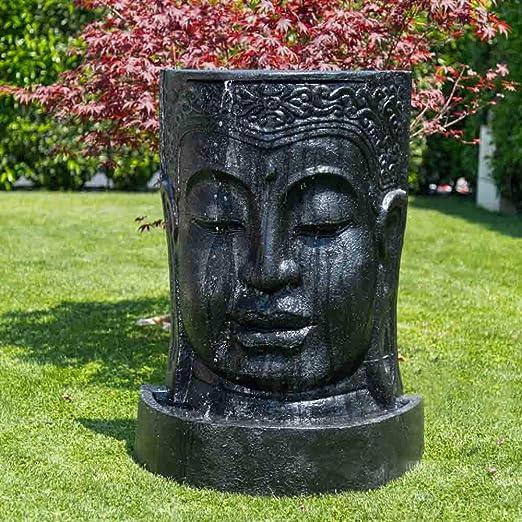 Wanda collection Fuente de jardín Pared de Agua Rostro de Buda 1, 20 m Negro: Amazon.es: Jardín