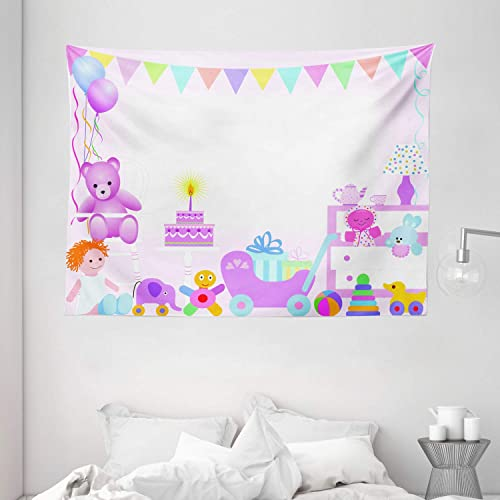 Ambesonne Birthday Tapestry, Baby Girls Birthday Celebration Party with Flags and Bears Cute Toys Print, Wall Hanging for Bedroom Living Room Dorm, 80 W X 60 L Inches, Pale Pink
