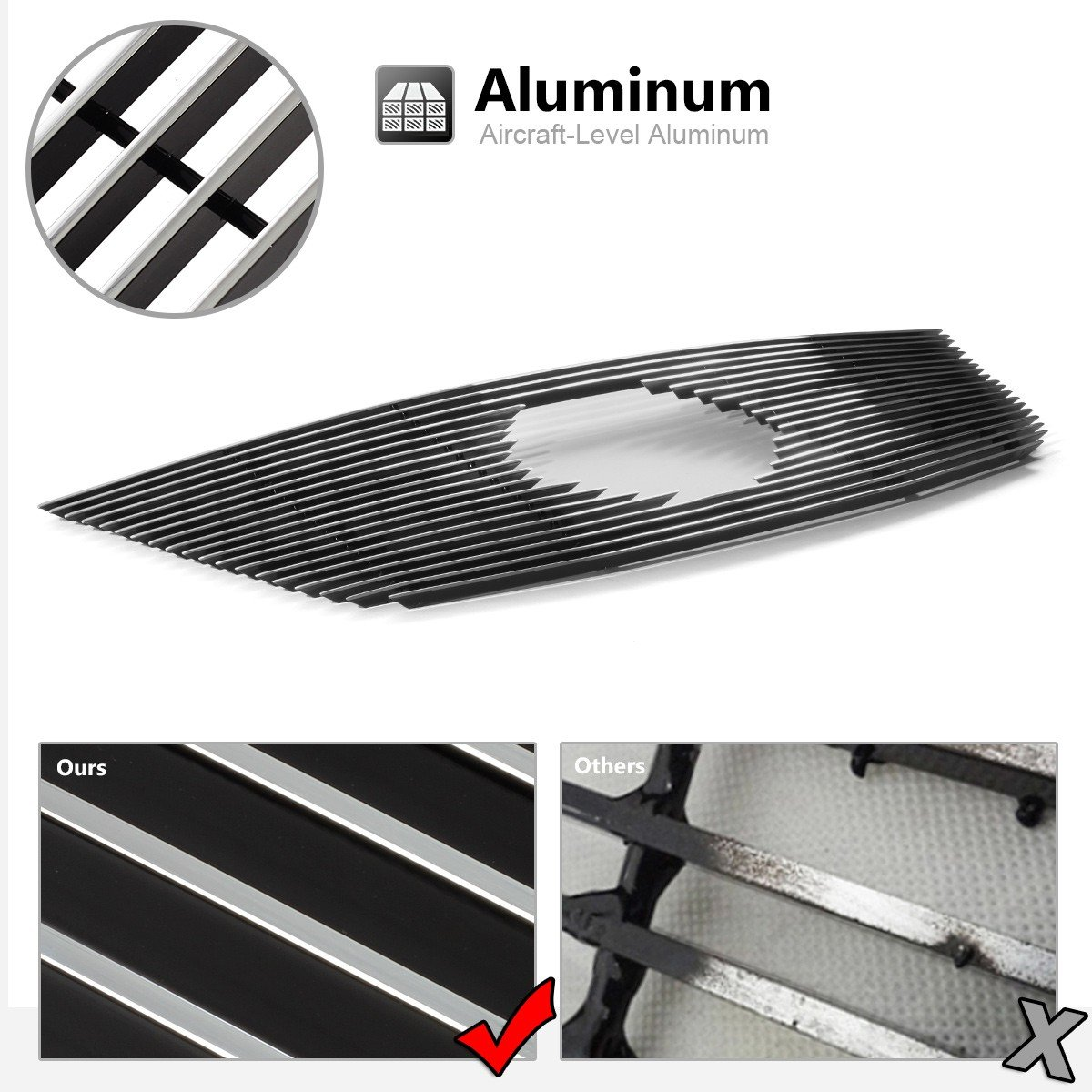 AUTEX N65923A Aluminum Polished Horizontal Billet Main Upper Grille Compatible With 2013 2014 2015 2016 Nissan Pathfinder Grill Insert
