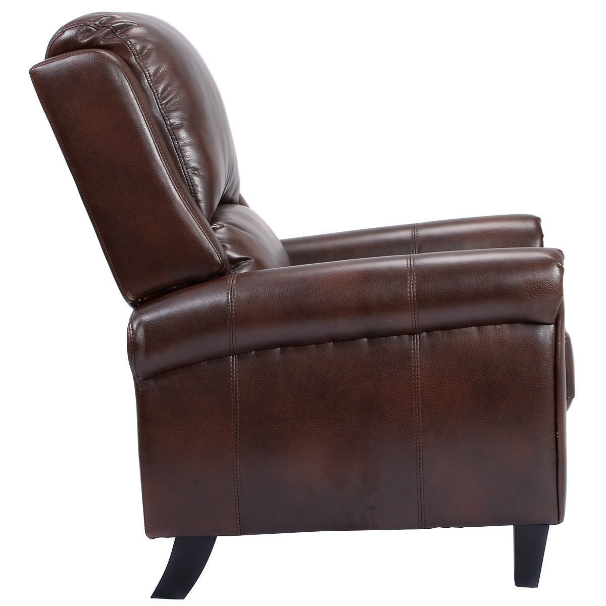 Amazon.com: Giantex PU Leather Recliner Chair Push Back Club Living Room  Seat Furniture W/Footrest (Brown): Kitchen U0026 Dining
