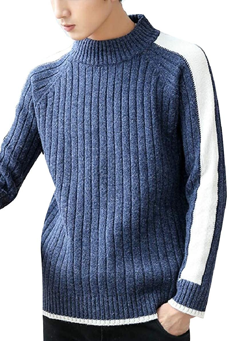 FLCH+YIGE Mens Winter Hipster Knitted Round Neck Color Contrast Pullover Sweaters