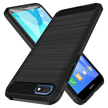 LK Case for Huawei Y5 Prime 2018 / Huawei Y5 2018 / Honor 7s,  [Anti-fingerprint] [Slim Fit] Flexible Soft TPU Brushed Protective Case  Cover - Black