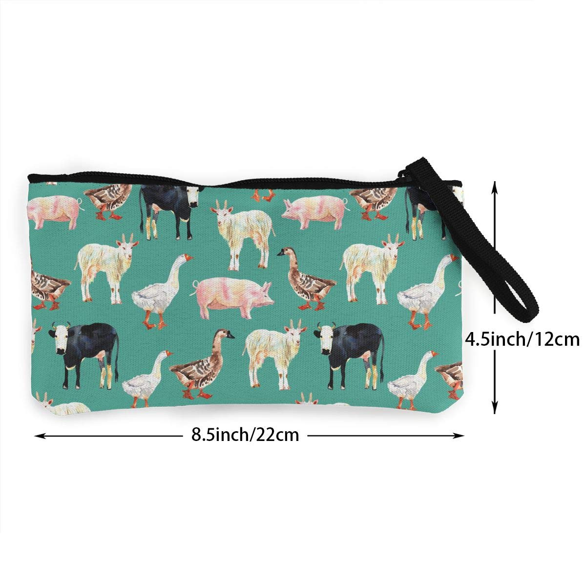 Farm Animal Pattern Canvas Card Wallet With Zipper For Women Womens Retro Coin Purse