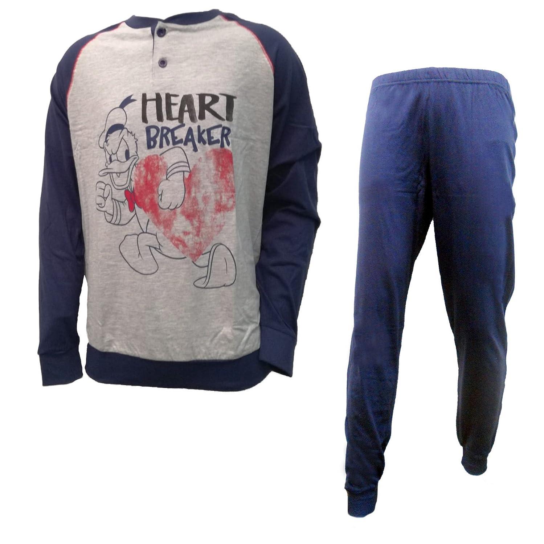 Disney pigiama uomo lungo in cotone jersey topolino/paperino art. WD14071/73