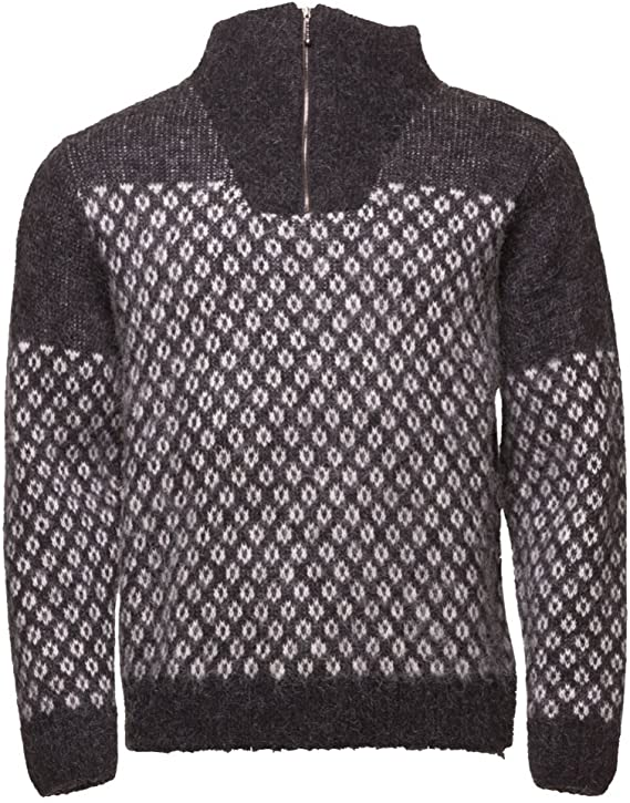 Icewear Eiriku Men S High Collar Sweater Nordic Knit Design 100 Icelandic Wool Long Sleeve Winters Quarter Zip Sweater Amazon Co Uk Clothing