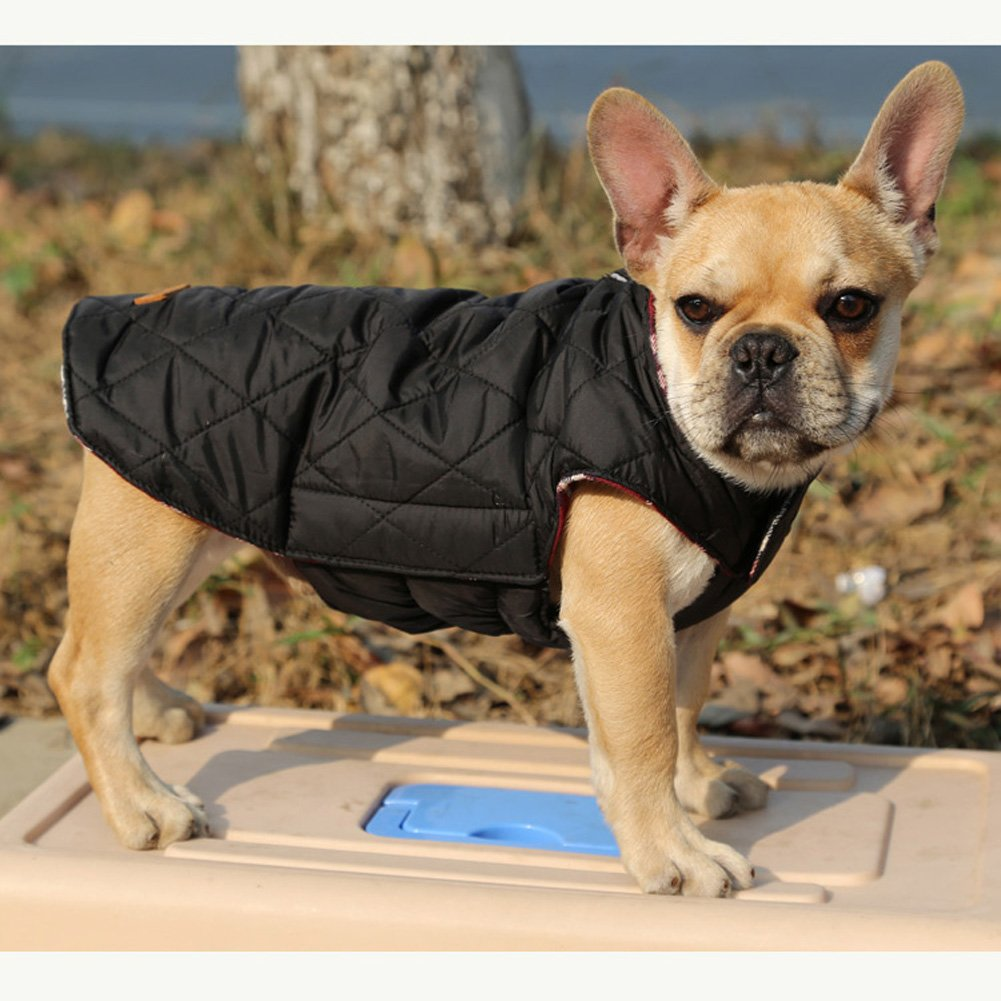 69ca148b6336 XS - 3XL Beige S Kuoser-92972-Beige-S Kuoser Cozy Waterproof Windproof  Reversible British Style Plaid Dog ...