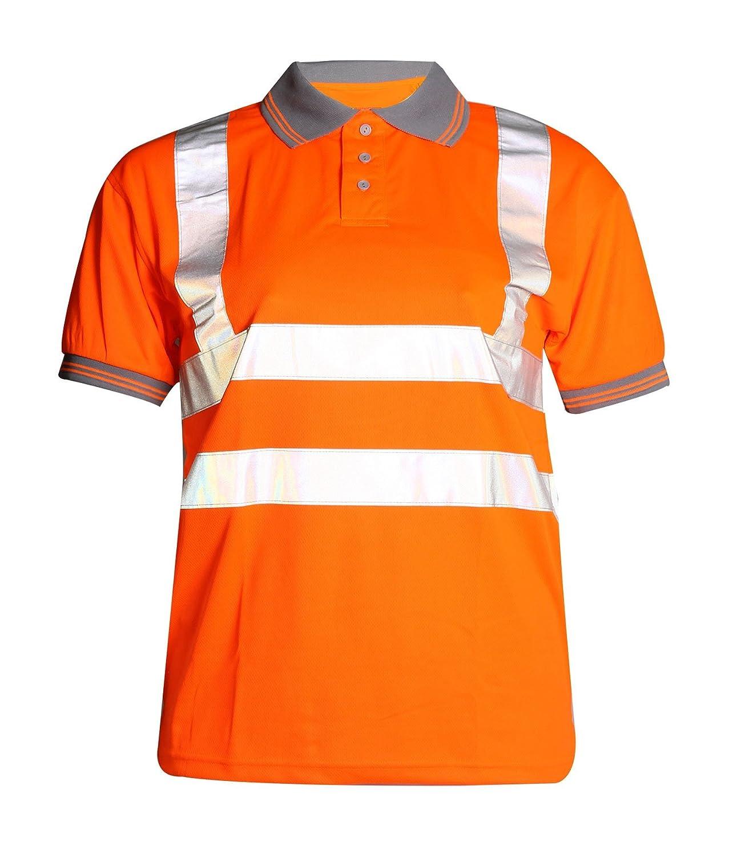 Fast Fashion Hi Viz Travail Porter T Shirt Visability De Polo De S/ûret/é De Col Gris