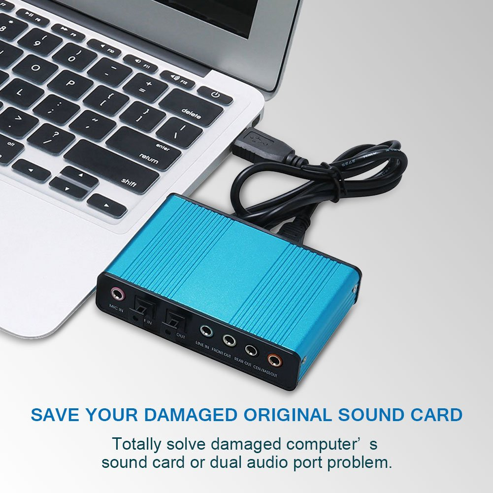 VAlinks Sound Card, 6 Channel External Sound Card USB 2 0